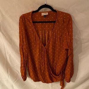 Burnt Orange Peasant Blouse with tie front